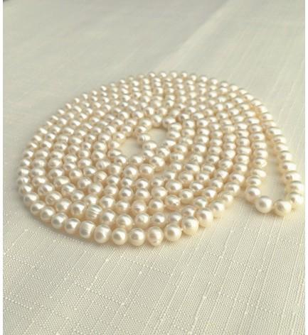 本真珠 ポテト 淡水パール ネックレス 200cm ホワイト 7mm~8mm