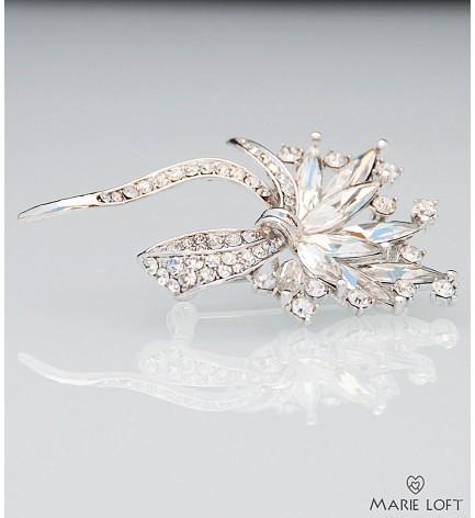 無色 水晶 輝き 花束 ブローチ (シルバー)