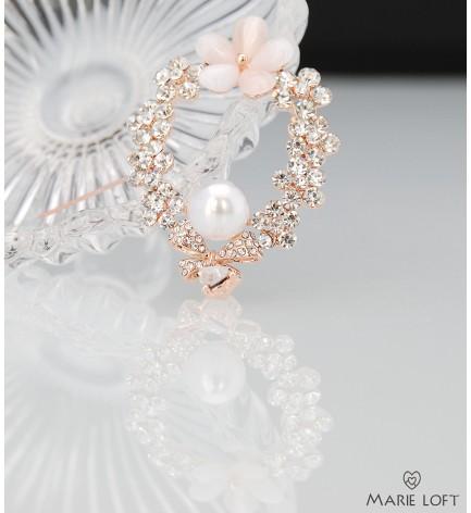 オーバル 花輪 美しい 輝き リボン ピンク 花 かわいいらしい 真珠 ブローチ ゴールド