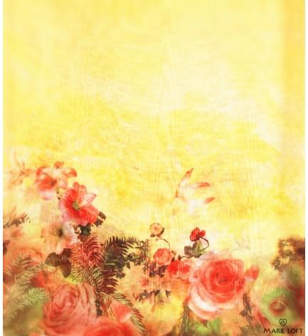 蝶々 バラ 菊 黄色 赤 スカーフ ポリエステル プリント 大判 ショール ストール プリント