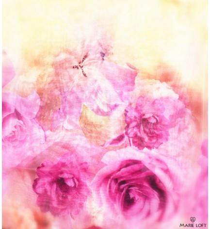 トンボ 紫 黄色 バラ スカーフ ポリエステル プリント 大判 ショール ストール プリント
