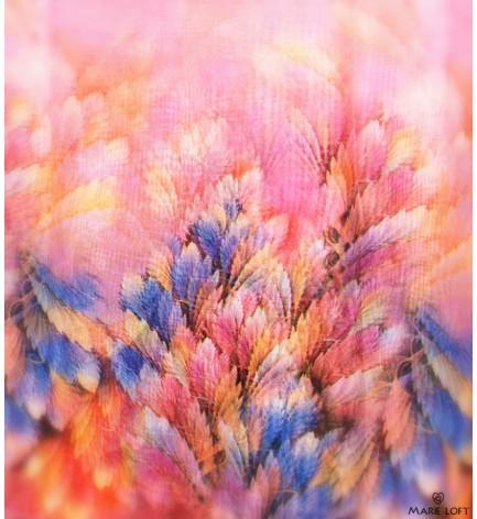 鮮やか ピンク 羽毛 スカーフ ポリエステル プリント 大判 ショール ストール プリント