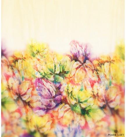 鮮やか 黄色 花 水彩 スカーフ ポリエステル プリント 大判 ショール ストール プリント
