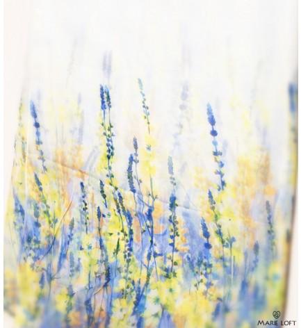 さわやか 水彩 花 水色 スカーフ ポリエステル プリント 大判 ショール ストール プリント