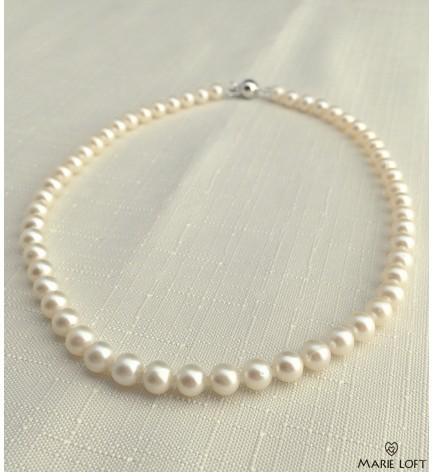 丸い 淡水パール ネックレス 40cm ホワイト 7mm~7.5mm