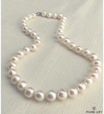 丸い 淡水パール ネックレス 40cm ホワイト 8mm