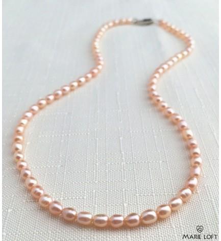 水滴 淡水パール ネックレス お米 40cm ピンク
