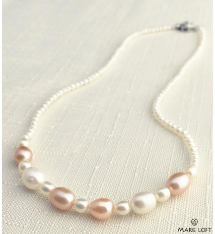 オーバル ピンク  淡水パール デザインネックレス 40cm ホワイト オリジナル 手作り