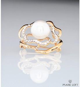 輝き 花 ブローチ ゴールド 真珠