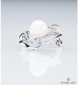 シンプルなデザイン 輝き 花 ブローチ シルバー 真珠