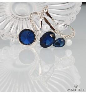 音符 紺色 クリスタル 真珠 ダイヤモンド シルバー