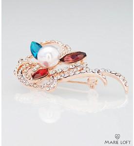 ゴージャス 赤 茶色 青 クリスタル 真珠 花