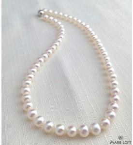 丸い 淡水パール ネックレス 40cm ホワイト 7mm~7.5mm  本真珠のテリ
