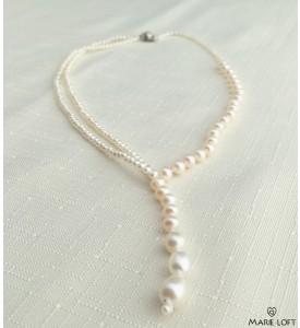 淡水パール デザイン ネックレス 40cm ホワイト オリジナル ネクタイ 手作り
